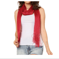 Scarf: Red Glittering Fringed Long Scarf