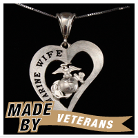 Necklace, Marine WIFE Heart Design