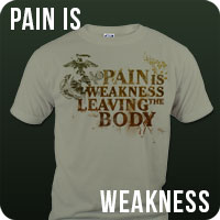 Pain is weakness leaving the body marine corps t-shirt